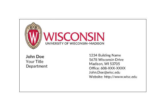 Sample of UW Madison Business Card