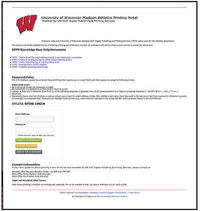 UW Athletics Printing Portal Button